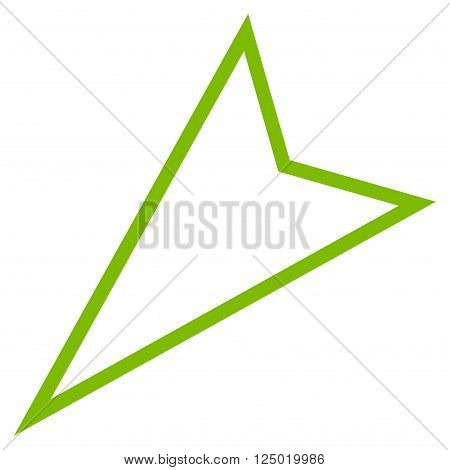 Pointer Left Down vector icon. Style is thin line icon symbol, eco green color, white background.