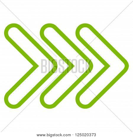 Triple Pointer Right vector icon. Style is contour icon symbol, eco green color, white background.