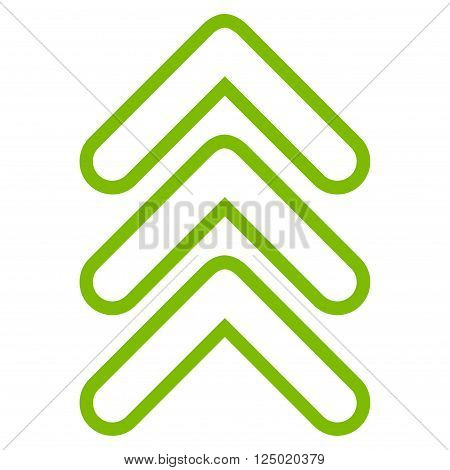 Triple Pointer Up vector icon. Style is contour icon symbol, eco green color, white background.