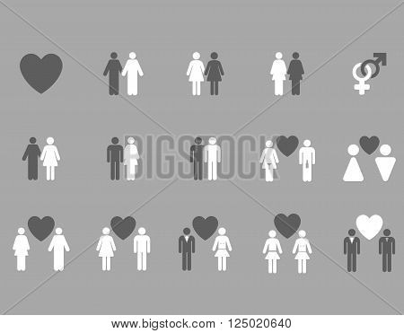 Love Pairs vector icon set. Style is bicolor dark gray and white flat symbols isolated on a silver background.