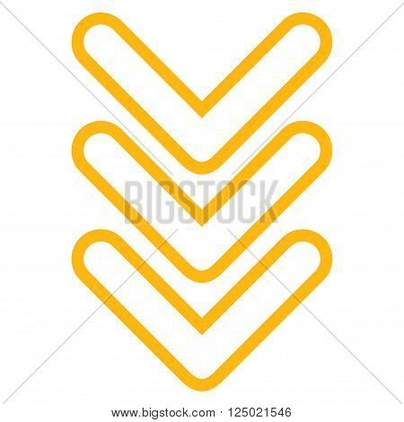 Triple Pointer Down vector icon. Style is thin line icon symbol, yellow color, white background.
