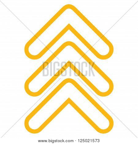 Triple Pointer Up vector icon. Style is contour icon symbol, yellow color, white background.