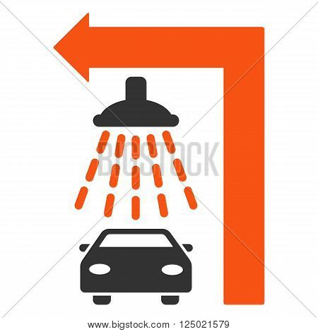 Carwash Turn Left vector illustration for street advertisement. Style is bicolor orange and gray flat symbols on a white background.