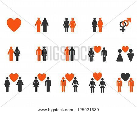 Love Pairs vector icon set. Style is bicolor orange and gray flat symbols isolated on a white background.