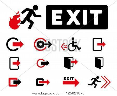 Fire Exit vector icon set. Style is bicolor intensive red and black flat symbols isolated on a white background.