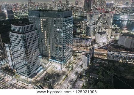Dense skyline of Umeda District Osaka Japan
