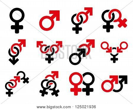 Sexual Relation Symbols vector icon set. Style is bicolor intensive red and black flat symbols isolated on a white background.