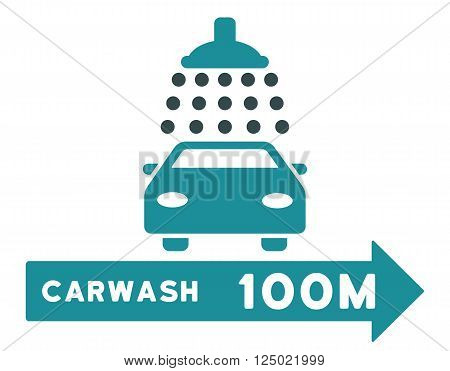 Carwash Right Direction vector illustration for street advertisement. Style is bicolor soft blue flat symbols on a white background.