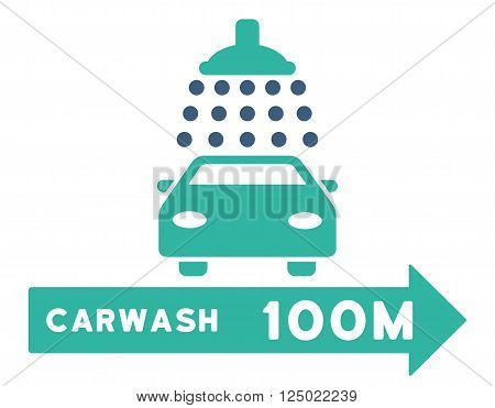 Carwash Right Direction vector illustration for street advertisement. Style is bicolor cobalt and cyan flat symbols on a white background.