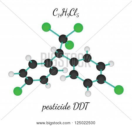 C14H9Cl5 pesticide DDT 3d molecule isolated on white