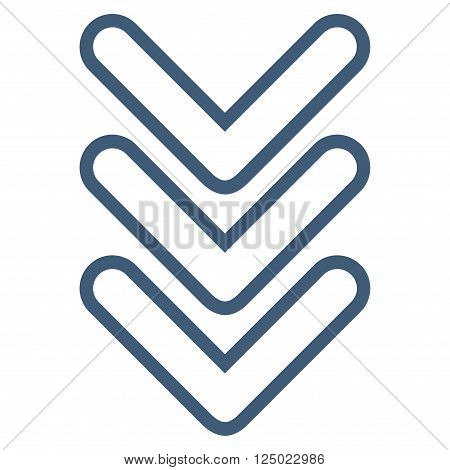 Triple Pointer Down vector icon. Style is outline icon symbol, blue color, white background.