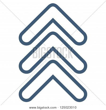 Triple Pointer Up vector icon. Style is thin line icon symbol, blue color, white background.