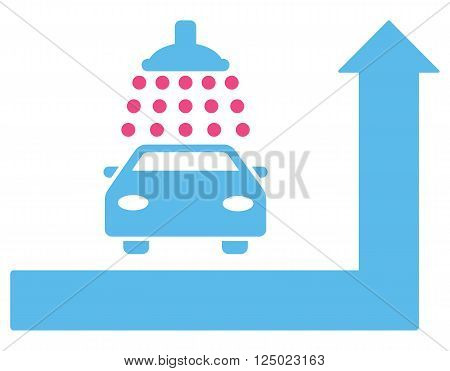 Carwash Turn Ahead vector illustration for street advertisement. Style is bicolor pink and blue flat symbols on a white background.