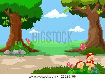 Vector illustration of garden with beautiful flowers