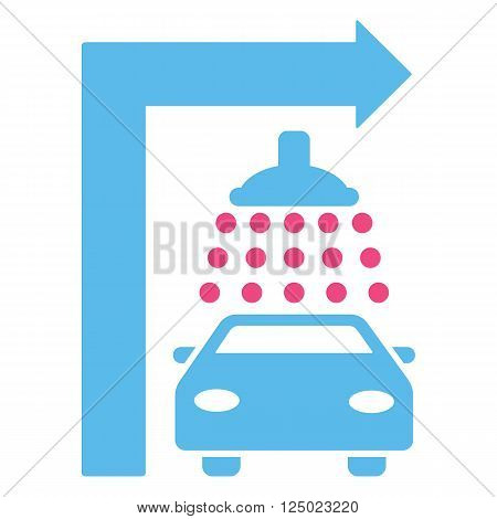 Carwash Turn Right vector illustration for street advertisement. Style is bicolor pink and blue flat symbols on a white background.