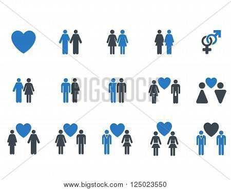 Love Pairs vector icon set. Style is bicolor smooth blue flat symbols isolated on a white background.