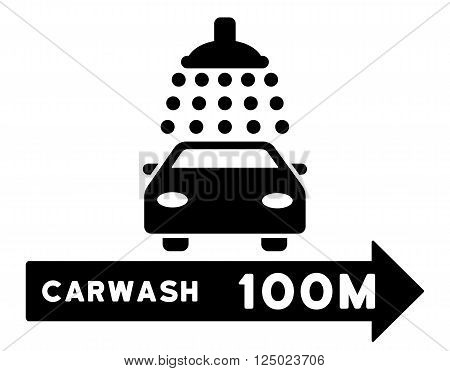 Carwash Right Direction vector illustration for street advertisement. Style is black flat symbols on a white background.