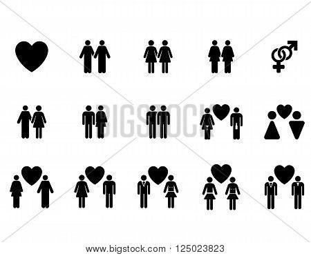 Love Pairs vector icon set. Style is black flat symbols isolated on a white background.