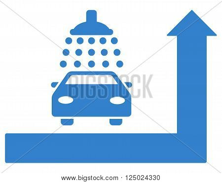 Carwash Turn Ahead vector illustration for street advertisement. Style is cobalt flat symbols on a white background.