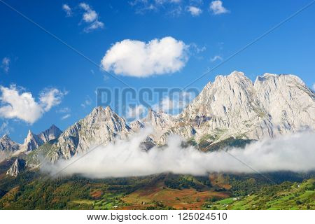 Peaks in Lescun Cirque. On the right Billare Peaks. Aspe Valley, Pyrenees, France.