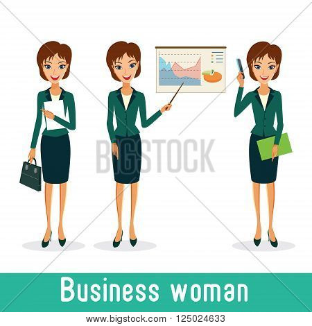 Business woman character vector set. Working female in office. Cheerful smiling business woman character. Woman career collection isolated on white background