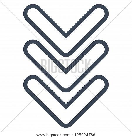 Triple Pointer Down vector icon. Style is stroke icon symbol, smooth blue color, white background.