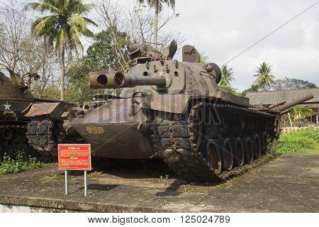 HUE, VIETNAM - JANUARY 08, 2016: American medium tank M48