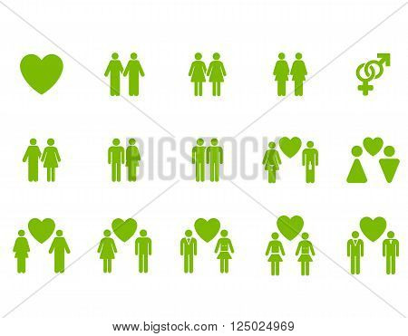 Love Pairs vector icon set. Style is eco green flat symbols isolated on a white background.