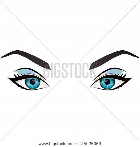 Realistic cartoon vector female blue eyes and eyebrows and fashion make up. Blue eyes and brows design element body parts isolated on white background. Eyes close up
