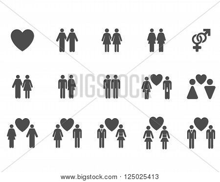 Love Pairs vector icon set. Style is gray flat symbols isolated on a white background.