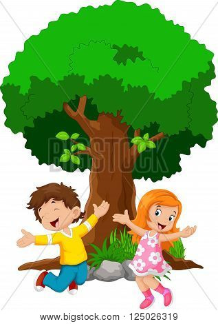 Vector illustration of boys and girls jumping for joy