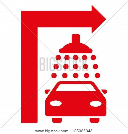 Carwash Turn Right vector illustration for street advertisement. Style is red flat symbols on a white background.