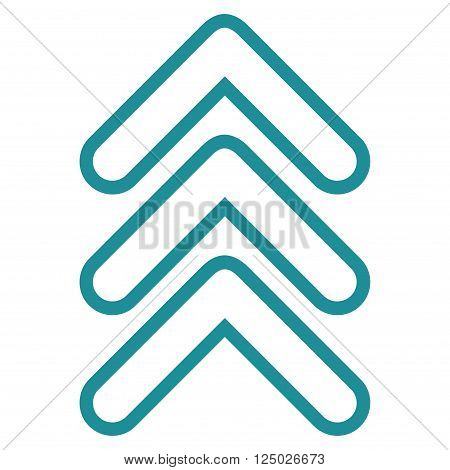 Triple Pointer Up vector icon. Style is thin line icon symbol, soft blue color, white background.