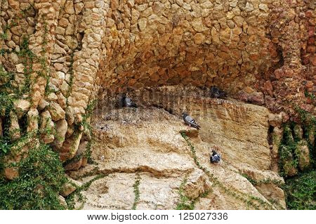 BARCELONA, SPAIN - JULY 31, 2015: Architectural detail of the famous landmark Park Guell in Barcelona, designed by renowned architect Antoni Gaudi and built between 1900 and 1914