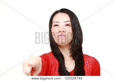 portrait of Japanese woman scolding on white background