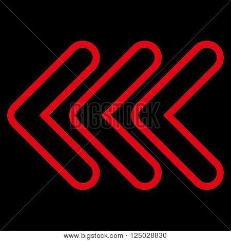 Triple Pointer Left vector icon. Style is contour icon symbol, red color, black background.