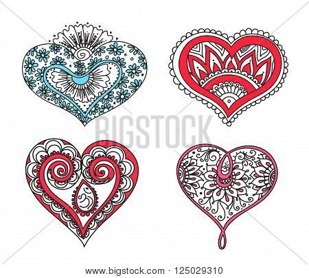 Vector abstract pattern of tattoo henna hearts. Stock mehndi set for design on white background.