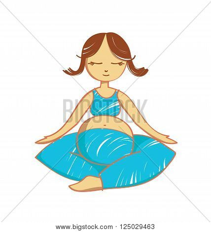 Isolated meditating pregnant woman. Stock illustration for design on white background.