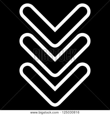 Triple Pointer Down vector icon. Style is thin line icon symbol, white color, black background.