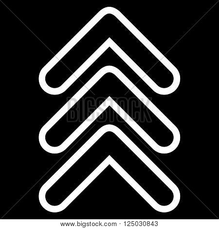 Triple Pointer Up vector icon. Style is thin line icon symbol, white color, black background.