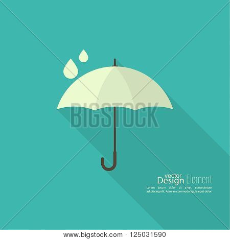 Umbrella sign icon. Rain protection symbol. Concept of protection and security, the rainy season. Spring, autumn, natural phenomena. vector. flat design. minimal.