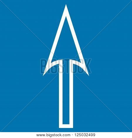 Sharp Arrow Up vector icon. Style is outline icon symbol, white color, blue background.