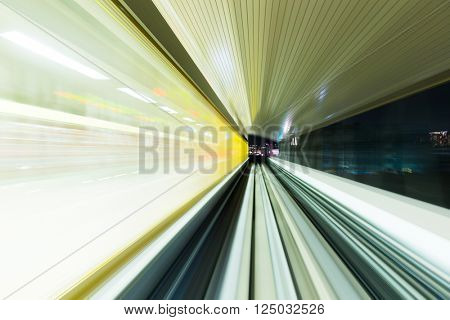 Speeding train through the tunnel