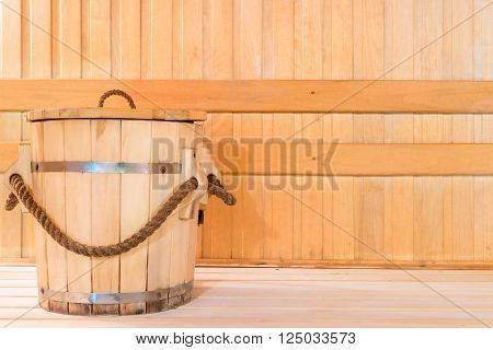 Wooden Tub For Water In Sauna Close Up