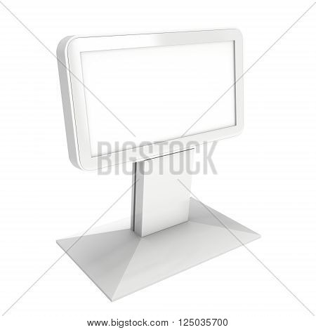 LCD Kiosk Stand. Blank Trade Show Booth. 3d render isolated on white background. High Resolution. Ad template for your expo design.