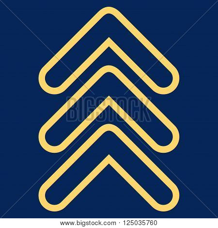 Triple Pointer Up vector icon. Style is contour icon symbol, yellow color, blue background.