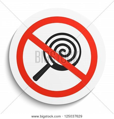 No Sweets and Candies Prohibition Sign on White Round Plate. No Candy forbidden symbol. No Sweets Vector Illustration on white background