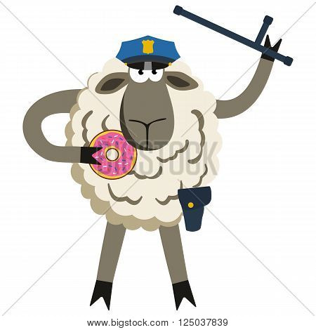 Stubborn Lamb Policeman with Donut. Sheep professional character. Vector illustration of stubborn police isolated on white.