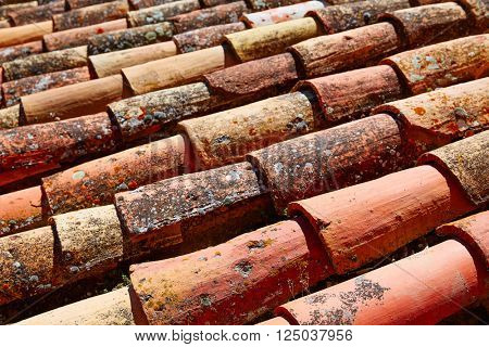 Arabic roof tiles pattern texture in Teruel of Spain