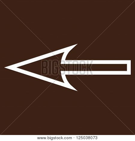 Sharp Arrow Left vector icon. Style is thin line icon symbol, white color, brown background.